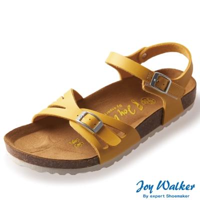 Joy Walker 繽紛色彩一片式平底涼鞋*黃色