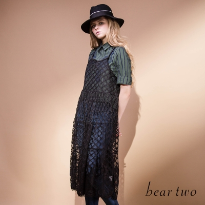 beartwo-細肩帶透膚蕾絲網格長版背心洋裝-黑色
