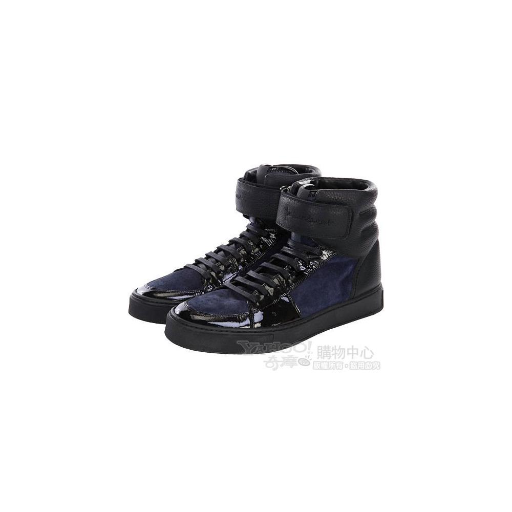 YSL 黑/藍色異材質拼接高筒休閒鞋(男)