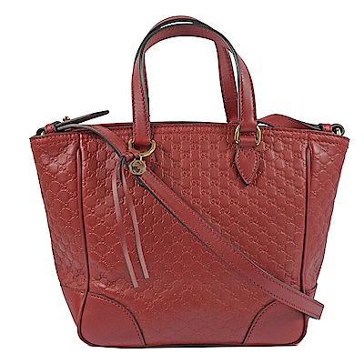 GUCCI Guccissima系列小LOGO牛皮兩用手提包(紅)