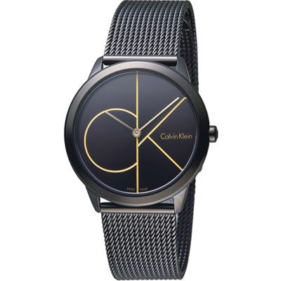 Calvin Klein minimal  大 ck 簡約時尚腕錶-黑x金色/35mm