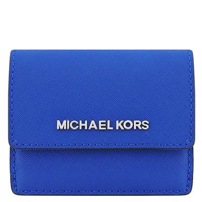 MICHAEL KORS JET SET防刮牛皮零錢/短夾(藍色)