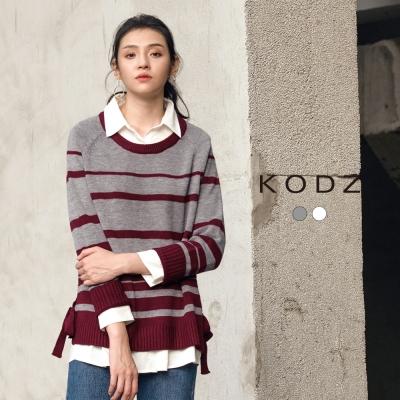 東京著衣-KODZ 歐美慵懶百搭條紋設計針織上衣-S.M.L(共二色)