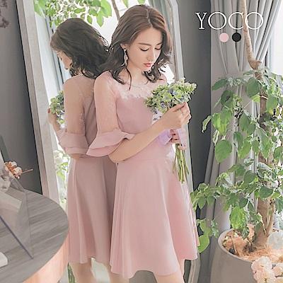 東京著衣-yoco 恬美優雅鏤空蕾絲拼接喇叭袖洋裝-S.M.L(共二色)