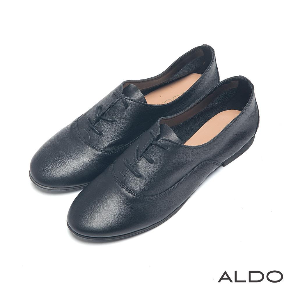 ALDO 英式學院風原色弧形車線綁帶牛津鞋~尊爵黑色
