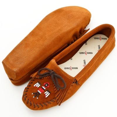 MINNETONKA 深棕色美國手工雷鳥真皮鞋底開車室內鞋 (展示品)