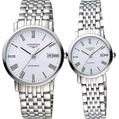LONGINES Elegant 優雅系列羅馬機械對錶-白/39+28mm L49104116+L43104116