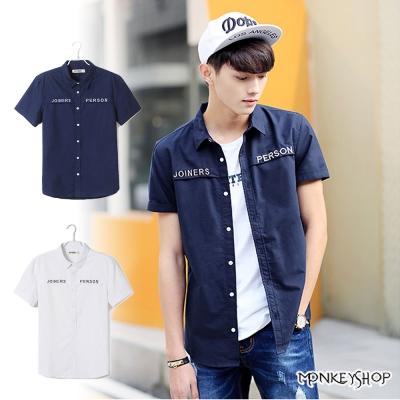 小猴子的賣場  時尚款日韓風格字母印花短袖襯衫-2色