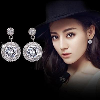 梨花HaN-無耳洞925銀超閃耀火光吊燈鑽飾耳環夾式