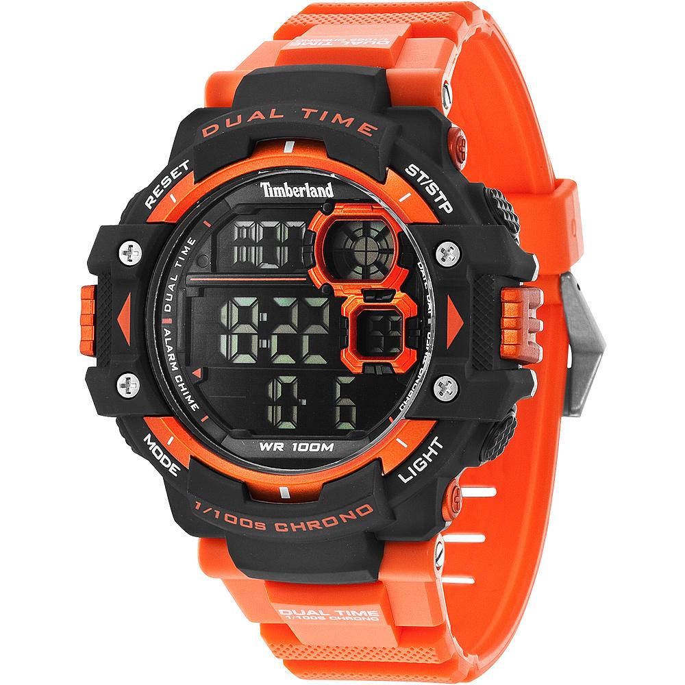 Timberland TUXBURY系列多功能數位腕錶-橘52.5mm