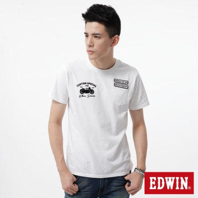 EDWIN男口袋徽章LOGOT恤