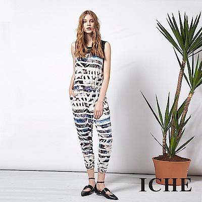 ICHE 衣哲 時尚條紋印花拼接造型連身長褲