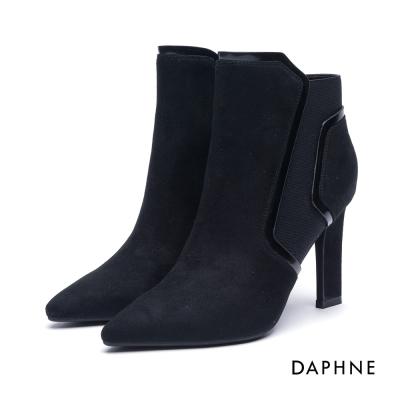 達芙妮DAPHNE 短靴-幾何線條拼接絨布造型高跟踝靴-黑