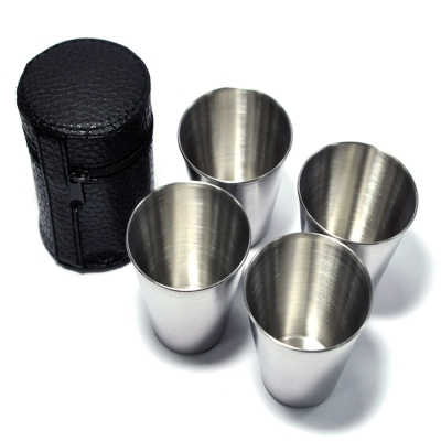 《WISH》加大版‧攜帶式不鏽鋼環保杯(4入組)-附收納袋
