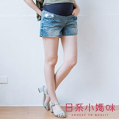 日系小媽咪孕婦裝-孕婦褲~口袋星星膠印刷破牛仔短褲 M-XXL