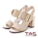 TAS 大寬版半圓扣帶粗跟涼鞋-簡約米