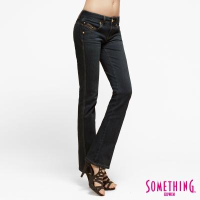 SOMETHING 靴型褲 前袋剪接牛仔褲款-原藍磨