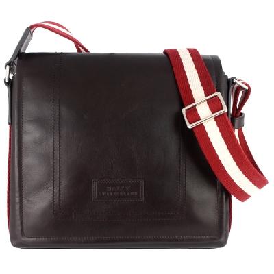 BALLY 經典條紋咖啡色真皮掀蓋拉鍊方形斜背包