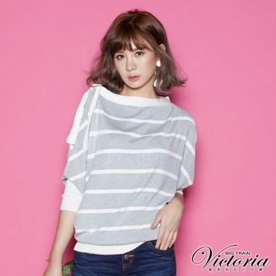 Victoria 肩綁帶寬鬆變化線衫-女-淺灰白條