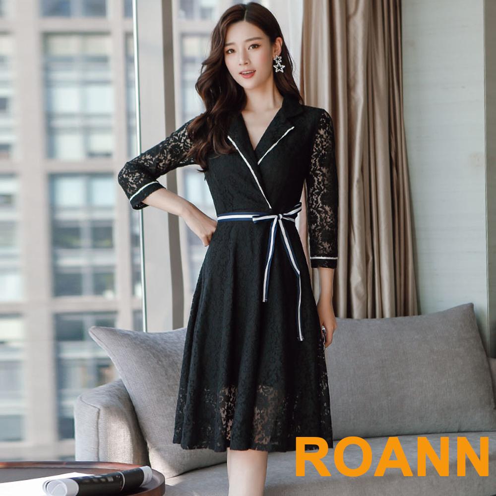 翻領蕾絲蝴蝶結洋裝 (共二色)-ROANN
