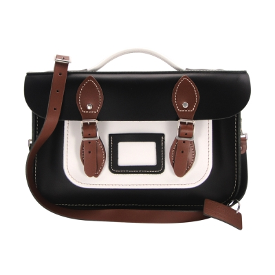 The Leather Satchel 英國手工牛皮劍橋包 肩背手提包 個性黑 12.5吋