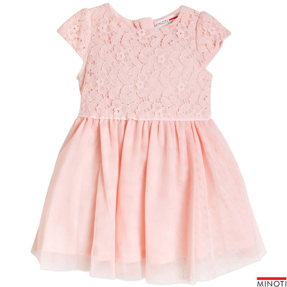 Minoti 英國 粉膚色鏤空樹葉蕾絲短袖紗裙洋裝