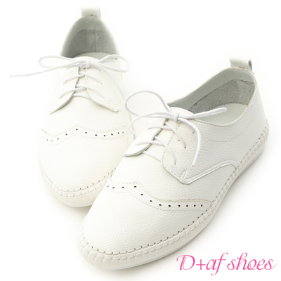 D+AF 舒活印象.超軟縫線底雕花牛津鞋*白