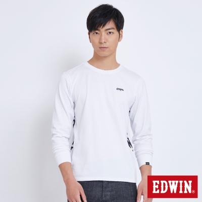 EDWIN 太空LOGO剪接長袖T恤-男-白色