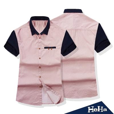 襯衫 休閒純棉紅藍拼色短袖襯衫 HeHa