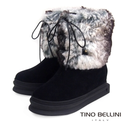 Tino Bellini 愛斯基摩混色兔毛厚底綁帶雪靴_黑