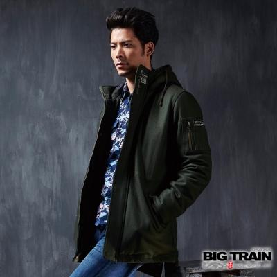 BIG-TRAIN-毛呢連帽長版外套-男-暗綠