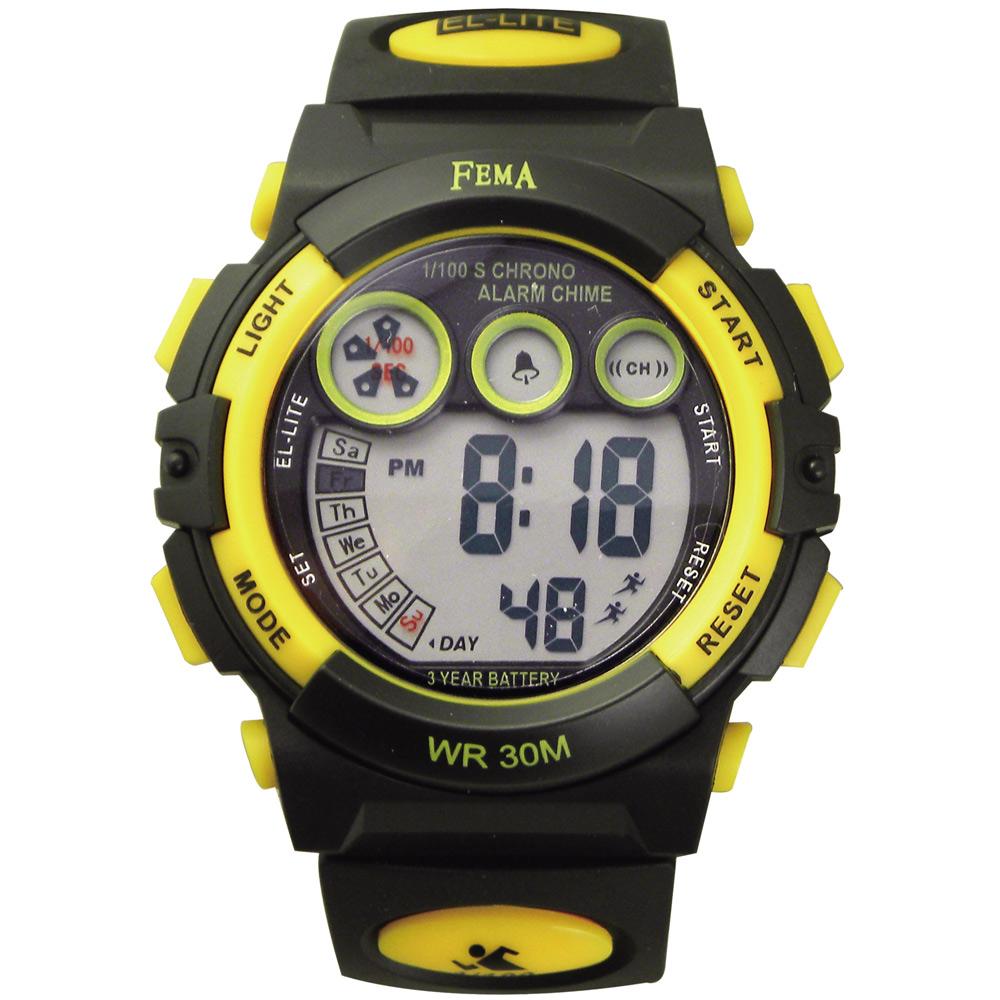 FEMA 百變造型 計時鬧鈴 數位運動錶(P239B)-黑X黃-43mm