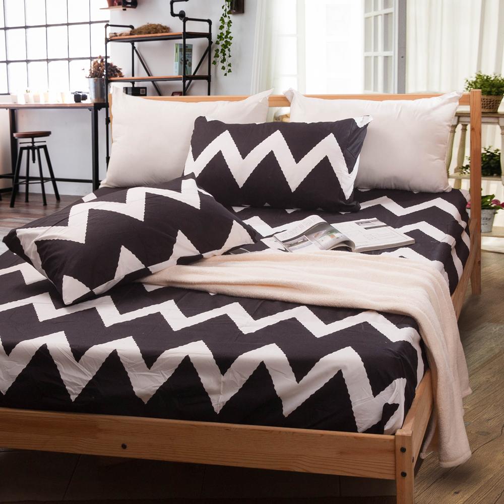 Carolan-黑與白 單人床包枕套組