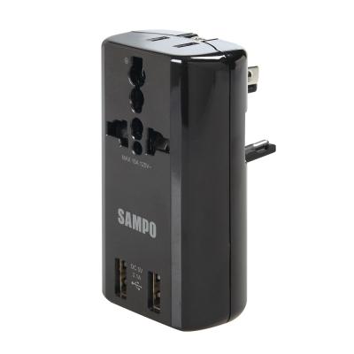 SAMPO 聲寶 雙USB萬國充電器轉接頭-黑色 EP-U141AU2(B)