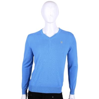 TRUSSARDI-JEANS 藍色素面 V領長袖針織衫