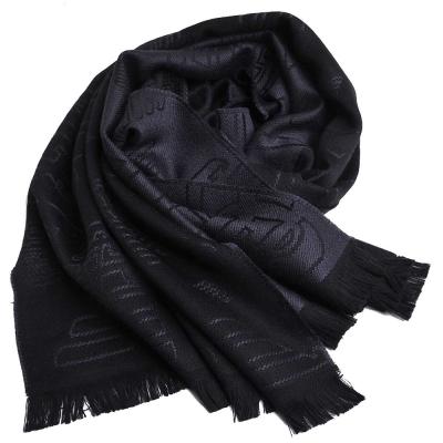 EMPORIO ARMANI 繽紛LOGO品牌雙面配色羊毛圍巾(黑/灰色LOGO)