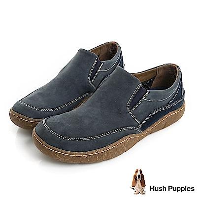 Hush Puppies SWAY亞麻大底直套休閒便鞋-藍色