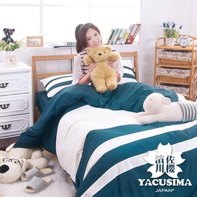日本濱川佐櫻-精彩.綠 單人三件式彩拼設計被套床包組