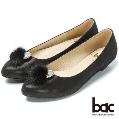 bac時尚品味  水鑽毛球真皮低跟鞋-黑色