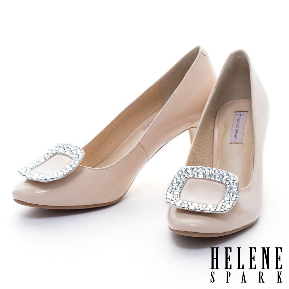 HELENE SPARK 亮面晶鑽方釦全真皮典雅高跟鞋-粉