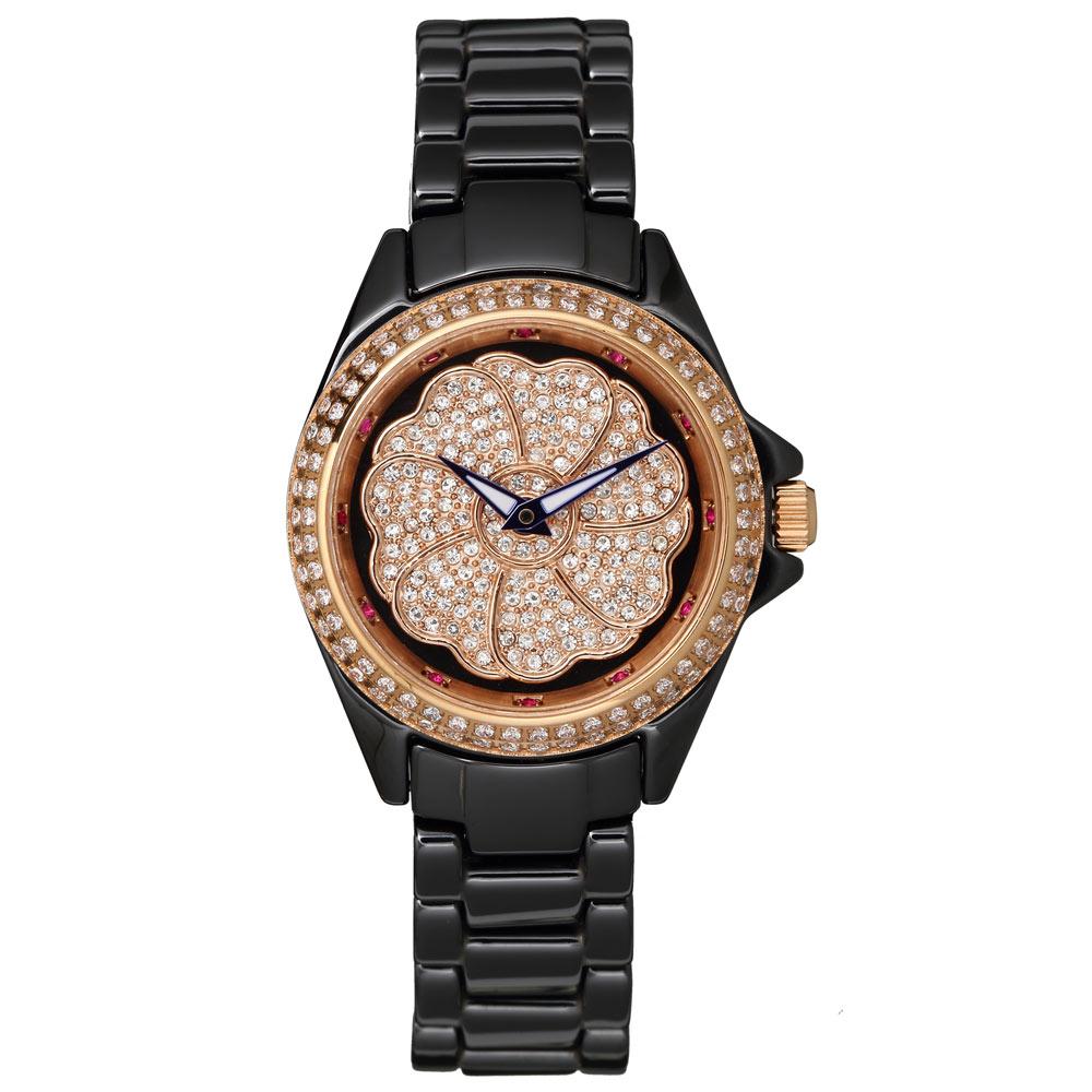 Elida 時來運轉系列晶鑽7瓣幸運草陶瓷錶-黑x玫瑰金/36mm @ Y!購物