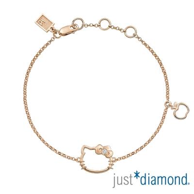 Just Diamond 18K玫瑰金鑽石手鍊-愛戀貓語
