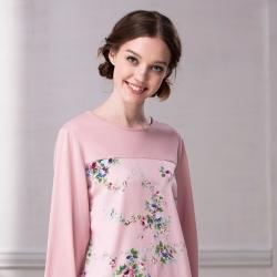 羅絲美睡衣 - 玫瑰公主印花長袖圓領褲裝睡衣(粉色)