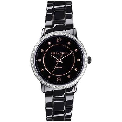 Relax Time 迷你馬卡龍晶鑽陶瓷腕錶-黑玫/30mm