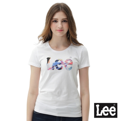 Lee 彩色logo短袖圓領T恤 女  白色