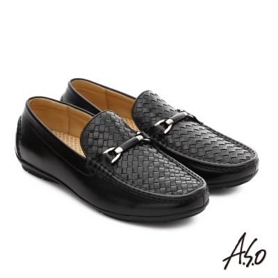 A.S.O 宴會精選 質感飾釦細緻胎牛皮奈米鞋 黑色