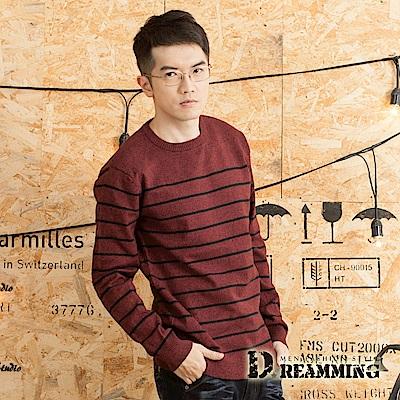Dreamming 紳士細條紋百搭圓領針織毛衣-共五色