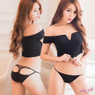 內褲 美臀鏤空造型低腰三角內褲(黑) Lorraine