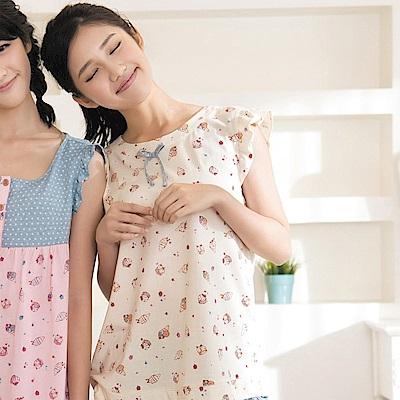 華歌爾 Pretty Amy 夏日樂趣印花 M-L 短袖家居服(黃白藍)