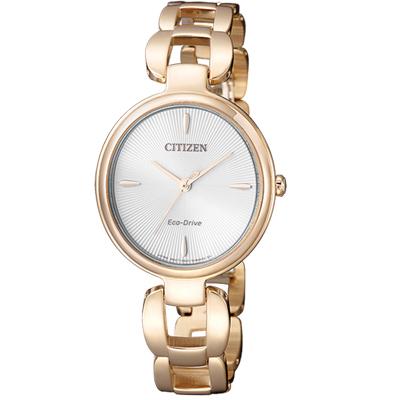 CITIZEN L系列 迷人風采光動能時尚錶(EM0423-81A)-玫瑰金色/28mm